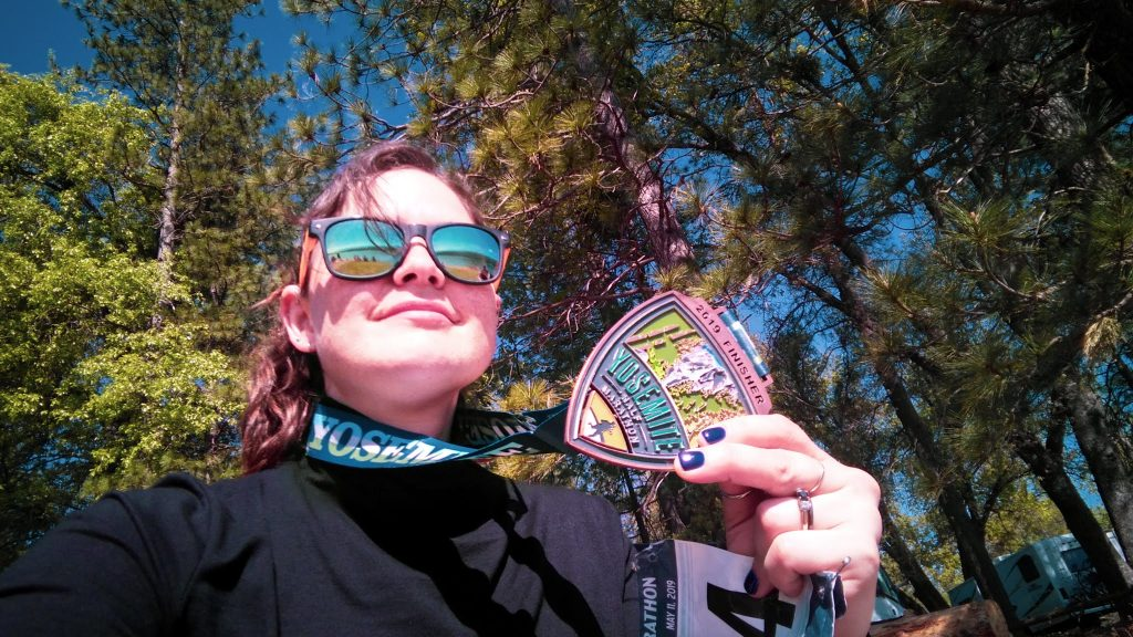 yosemite half marathon running selfie