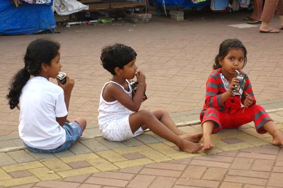 India kids run with amber