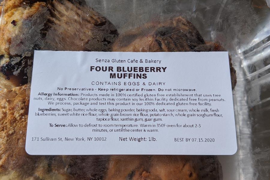 Senza Gluten Label ingredients